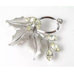 Vintage Sterling Silver Rhinestone Pendant/Earring